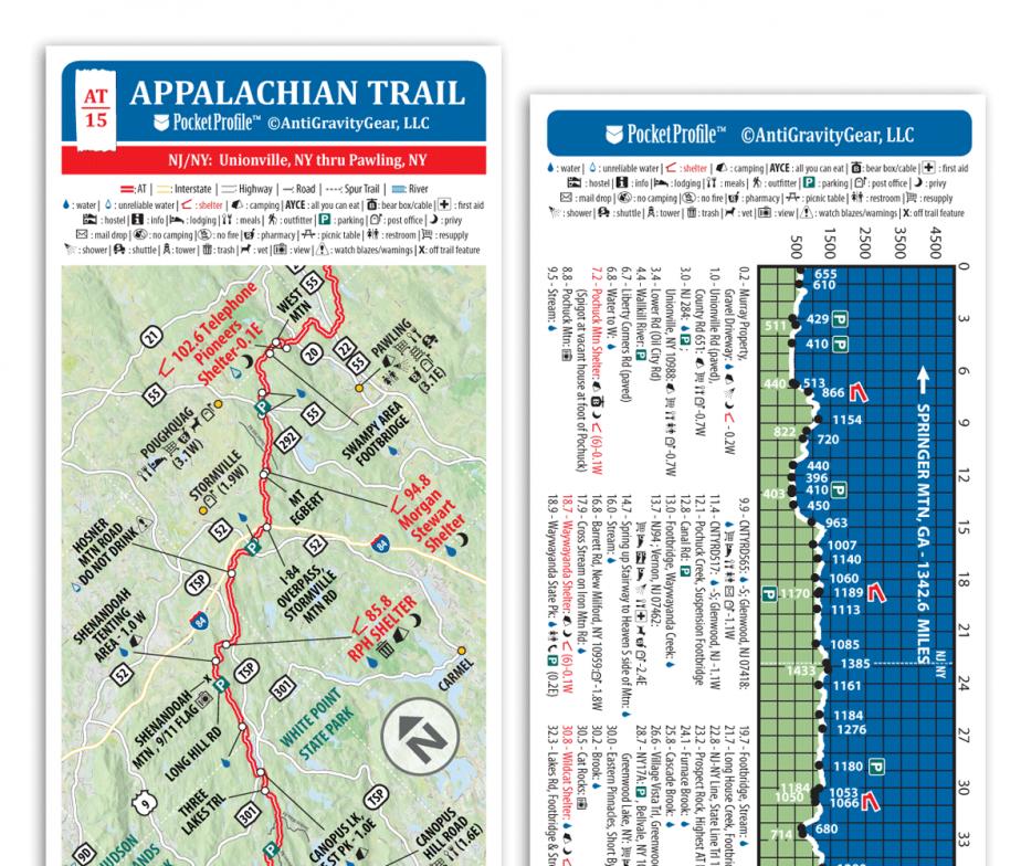 Appalachian Trail Elevation Pocket Profile Map AntiGravityGear - Georgia map elevation