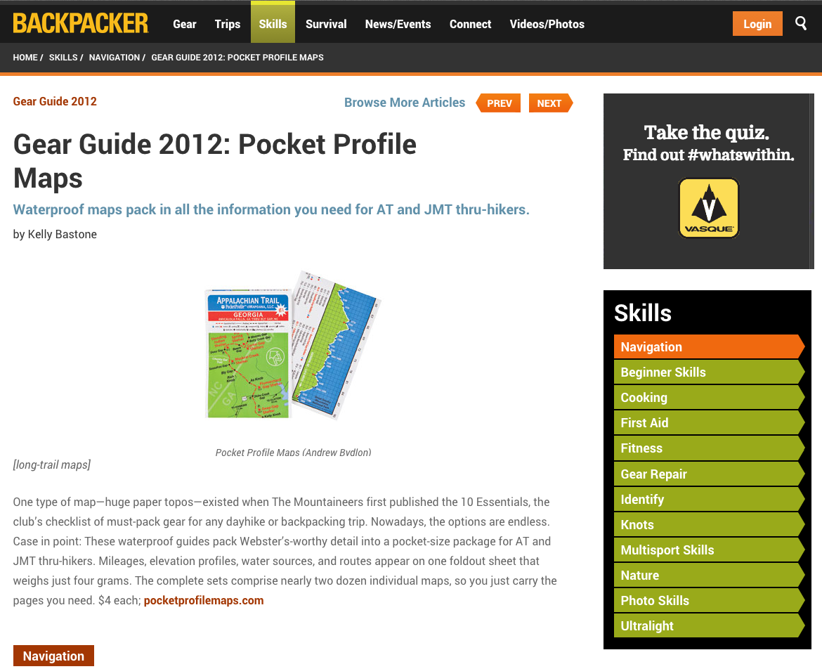 "2012 Backpacker Magazine ""10 Essentials"": Pocket Profile Long Distance Trail Maps"