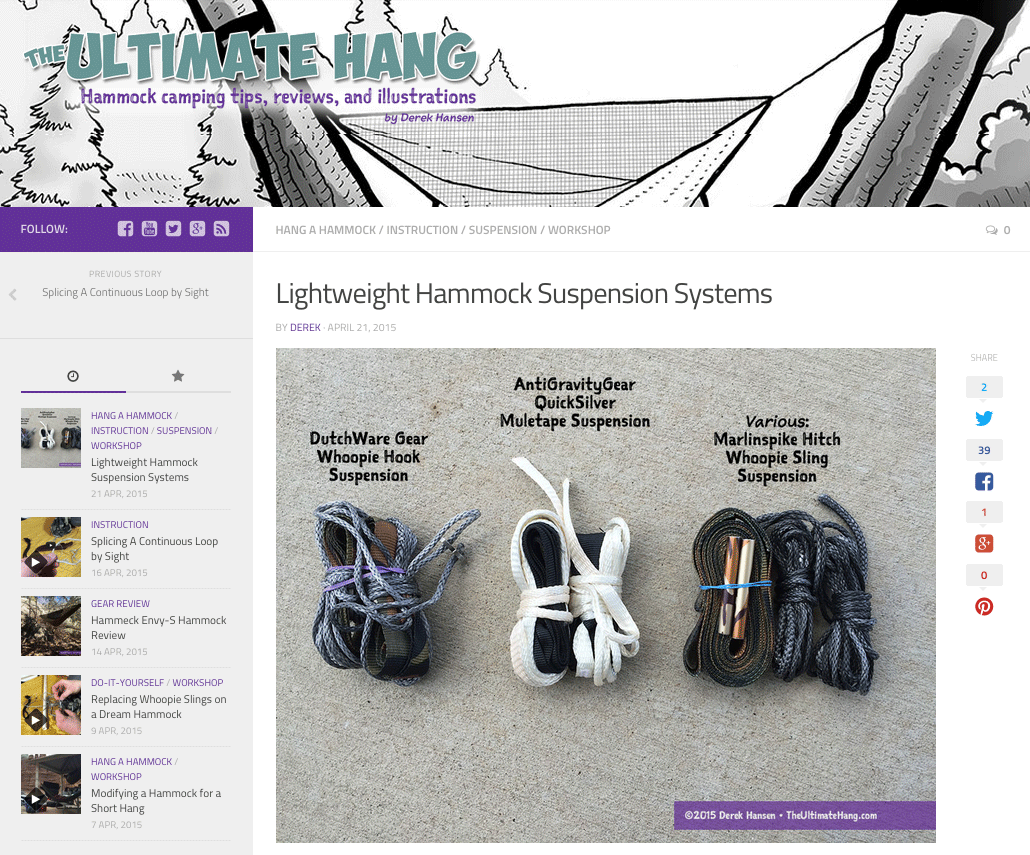 Lightweight Hammock Suspension Systems